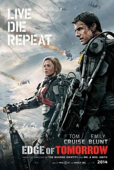 Edge of Tomorrow on DVD October 2014 starring Tom Cruise, Emily Blunt, Charlotte Riley, Bill Paxton. Bill Cage (Cruise) is an officer who has never seen a day of combat when he is unceremoniously dropped into what amounts to a suici Edge Of Tomorrow, Tomorrow Today, Film D'action, Bon Film, Film Serie, Tom Cruise, Emily Blunt, Love Movie, Movie Tv