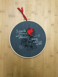 Snow White - Poison Red apple - dark fairytale - embroidery hoop art - princess, witch