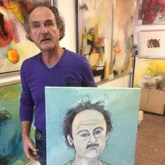 Pieter Vermeulen met zijn zelfportret.