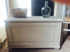 Pretty vintage French linen grey blanket box/toy box/coffee table by Theoldsummerhouse on Etsy