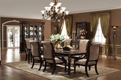 Dining Room Harp Back Dining Chair Black Dining Table Cream Carpet Flower Vase Fruit Basket Green Apple Curio Cabinet Candle Holder Side Board Accent Mirror Light Stand Wooden Floor Chandelier Must-Have Dining Room Equipment