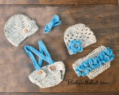 Newborn Twins Boy and Girl Hat Diaper Cover Set by Babyinthehat, $70.00