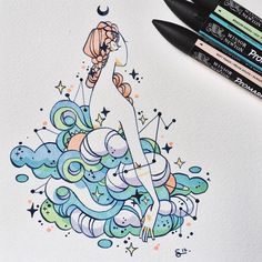 """12.6 mil curtidas, 43 comentários - @sibylline_m no Instagram: """"You told me you liked the waves on my last #mermay so I drew more waves for you ! ☀️"""""""