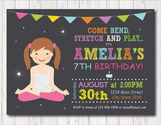 Yoga Birthday Invitation Yoga Invite Yoga Party Chalkboard