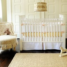 New Arrivals Crib Bedding White Pique with Khaki Crib Set | Polka Dot Peacock