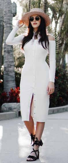 #spring #fashion /  Hat / White Open Shoulder Open Dress / Black Laced Up Booties
