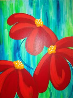 Fiery Wildflowers Fiery reds on a contrasting background of bright blue hues. Come and express your colorful side with this fun floral piece.
