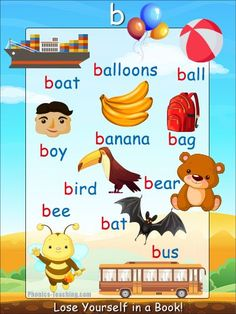 b words - b sound Phonics Poster - FREE & PRINTABLE - Perfect for phonics practice, auditory discrimination, spelling, Word Walls & Home Reading Practice. Jolly Phonics, Teaching Phonics, Phonics Worksheets, Phonics Flashcards, Phonics Lessons, Phonics Reading, English Phonics, English Vocabulary, Teaching English
