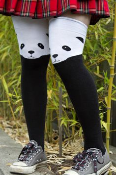 Panda Knee Socks - A panda peeks from the top of the sock, its little face…