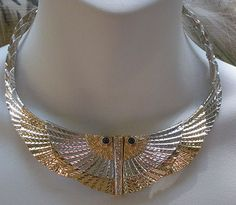 "RARE Erte ""Nile"" Necklace 14K yg, Sterling silver, Diamonds, Cab Sapphires"