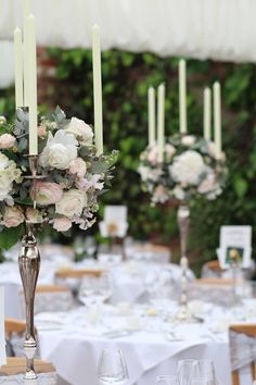 Silver Candelabra flower balls filled with white Hydrangea, Scented stocks…