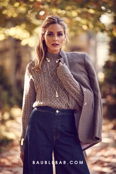 #OliviaPalermo is ready for fall in chunky knits, flared denim, and safari-inspired jewelry.