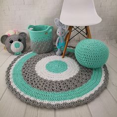 crochet rug round for baby room handmade personalized baby gift nursery decor birthday gift cotton rug home decor area rug carpet for home Crochet Mat, Crochet Carpet, Crochet Rug Patterns, Cotton Crochet, Rag Rug Tutorial, Decoupage Tutorial, Diy Bebe, Crochet Home Decor, Rugs On Carpet