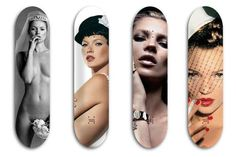 Starlet Studded Skateboards -  The Jeff Gaudinet 'Skate Moss' Project is an Artistic Collaboration #jeffgaudinet #fashion #skateboards #artdesign