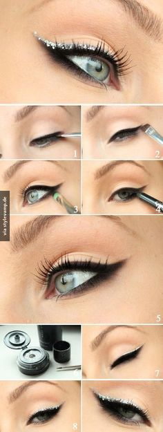 15 Easy Hacks For Perfect Eyeliner Tutorial – Smokey Eyeliner with Silver Glitter - Das schönste Make-up Perfect Eyeliner, How To Apply Eyeliner, Applying Eyeshadow, Applying Makeup, Perfect Eyebrows, Perfect Makeup, Beauty Tutorials, Beauty Hacks, Beauty Tips