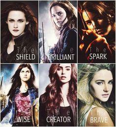 Bella Swan ,Hermione Granger,Katniss Everdeen,Annabeth Chase,Clarissa Morgenstern,Beatrice Prior