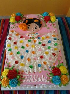 Mexican Dessert Recipes Discover beautiful Mexican girl cake gorgeous lace dress colorful perfect for birthday Cinco de Mayo fiesta theme party Mexican Birthday Parties, Mexican Fiesta Party, Fiesta Theme Party, First Birthday Parties, Birthday Party Themes, First Birthdays, Theme Parties, Cake Birthday, Mom Birthday