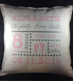 A personal favorite from my Etsy shop https://www.etsy.com/listing/294807527/birth-announcement-pillow-personalized
