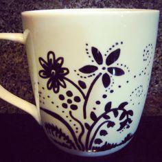 Flower Sharpie Mug by MagicMushroomPatch on Etsy, $8.00  #flower #sharpie mug #cool