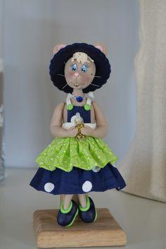 Miss coquette Souris en porcelaine froide d'après livre de Ginette Le Guyader