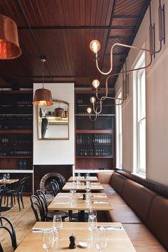 Copper lamps. Beatrix Rowe Interior Designer | American Hotel | © Shannon McGrath | Est Magazine