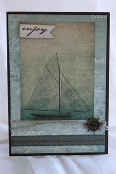 """Enjoy"" Cards by Helen of Helen's Card Designs using Kaisercraftt ""Sandy Toes"" Collection Card #1 ~ Cards - Clean & Simple."