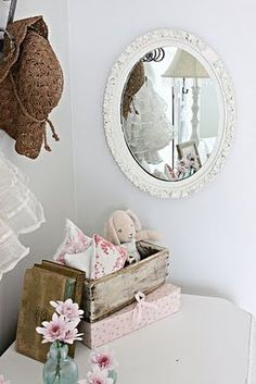 toddlers neutral room....little bunny so cute in wooden box!