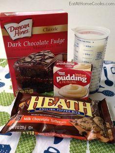 Toffee Brownies {4-Ingredients}