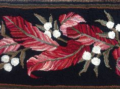 Barkcloth inspired hooked leaves and berries. Designed and hooked by Jennifer Martinsons