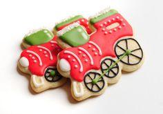 Christmas Train Sugar Cookies by guiltyconfections on Etsy, Fancy Cookies, Iced Cookies, Royal Icing Cookies, Sugar Cookies Recipe, Cupcake Cookies, Cookies Et Biscuits, Brownie Cookies, Cupcakes, Christmas Sugar Cookies