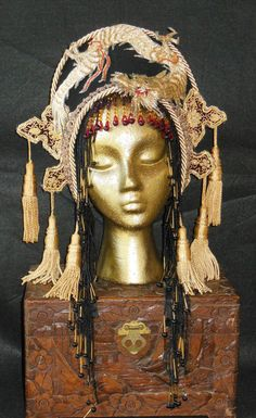 Fantasy Antique metallic Embroidered Dragon Queen Golden goddess Tassels beads Headpiece Headdress Crown Belly dance Cleopatra Chinese Asian
