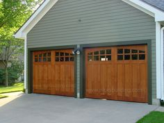 Wood Garage Doors. Stable Style Garage Doors. Garage Door with Glass. Brown Door Green House