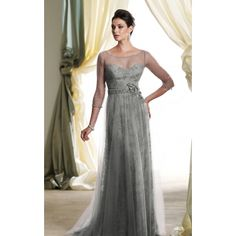 Refined Illusion 3/4 Sleeve Long Gown with Floral Applique