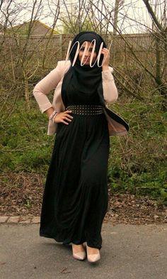 Hijab fashion modest fashion blazer maxi dress studded belt