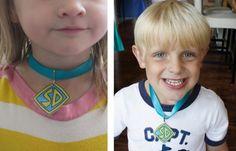 Scooby Doo birthday party dog collar necklaces.