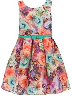 Little Girls Floral Print Allover Bow Belted Easter Flowers Girls Dresses Jade 4 -- Check this awesome product by going to the link at the image.