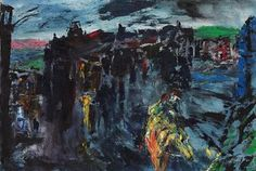 "Jack Butler Yeats (Irish, 1871-1957). ""A Horseman Enters a Town at Night,"" 1948. Oil on canvas. Christie's auction."