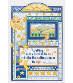 """Walking With a Friend - 9.25"""" x 13.5"""", counted cross-stitch :: Beautiful design! Love the quote from Helen Keller!"""