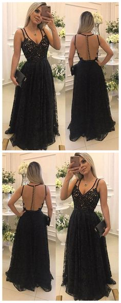 Black lace see through long prom dress, black evening dress P0811 #promdress #promdresses #promgown #blackpromgowns #long #tulleprom #modestpromdress #newpromdress #2018fashions #newstyles
