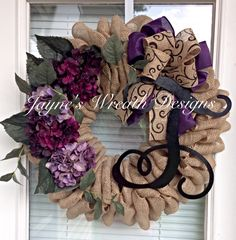 Burlap Wreath with Plum Hydrangeas, Dupioni & Burlap Bow, and Single Vine Script Letter. Jayne's Wreath Designs on fb and Instagram. Decorating. Home decor.