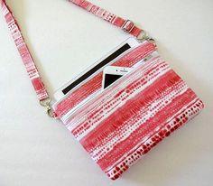 Crossbody Bag, iPhone 7, 6 Plus, iPad mini, Galaxy Note, Large Double Zipper Bag, Shoulder Bag - 50x2 Selections, Plaid, Floral, Dot,Tie Dye