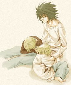 animeinsomniac:  This time, it's Mello's and Near's turns to put their heads on L's lap :D
