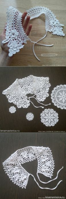 Find and save knitting and crochet schemas, simple recipes, and other ideas collected with love. Col Crochet, Crochet Collar Pattern, Knitted Mittens Pattern, Crochet Lace Collar, Crochet Shirt, Crochet Diagram, Thread Crochet, Irish Crochet, Crochet Scarves