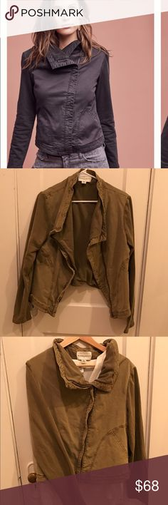 Anthropologie Favarel Marrakech Moto Jacket Feel like a rebel in a unique moto inspired Favarel Jacket by Marrakech at Anthropologie. Sleeves are ribbed and stretchy, really elevating the canvas style of the bodice. Color for sale is a khaki olive color in my photos, not the slate gray in the stock photos. The khaki color is no longer for sale at Anthropologie. Great neutral that sold out. Wear this when everyone else is wearing leather Motos and stand out! Gently used, gives a lived in edge…