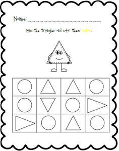 Triangle: Shape and Color Practice Pre K Worksheets, Shapes Worksheet Kindergarten, Shapes Worksheets, Numbers Preschool, Preschool Activities, Preschool Shapes, Triangle Worksheet, Black Bee, Finger Plays