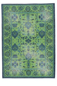 Green distressed rug