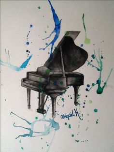 Creativity. Watercolor. Art. Music. Piano.