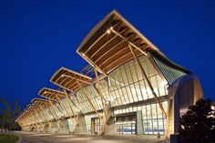 Richmond Olympic Oval by Cannon Design. Ceiling of salvaged pine-beetle-kill wood.