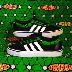 #Adidas #Classic #Custom #African prints #Wax #Fashion #Waxfeller #Sneakers #Kicks #Fashion #Mode #Green #Men #Women