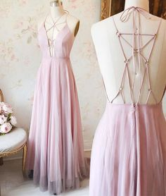 Unique Pink v neck long prom dress, pink evening dress